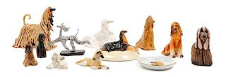 * A Group of Twelve Afghan Hound Porcelain and Ceramic Articles Height of tallest 6 inches.