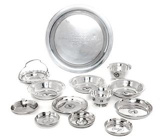 * Fourteen American Silver Airedale Terrier Articles, Various Makers, comprising a variety of trophy bowls and trays.