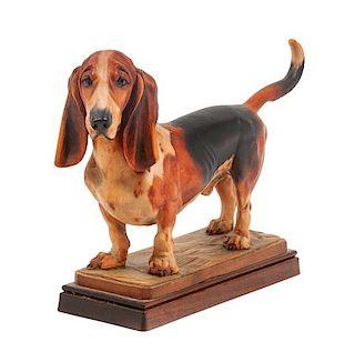 * A Wooden Bassett Hound Figure Width 11 1/2 inches.