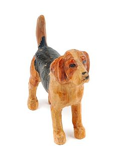 * A Wooden Beagle Figure Height 1 5/8 inches.