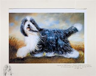 * A Photomechanical Reproduction of a Bearded Collie 16 x 22 3/4 inches.