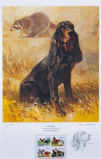 * A Black and Tan Coonhound Photomechanical Reproduction 18 x 11 1/2 inches.