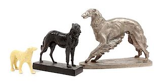 * A Group of Three Borzoi Figures Width of widest 13 inches.