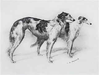 * Three Works of Art depicting Borzoi Largest: 17 1/2 x 23 1/2 inches.