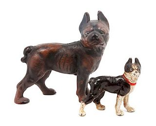 * Two Cast Iron Boston Terrier Figures Height of taller 5 inches.