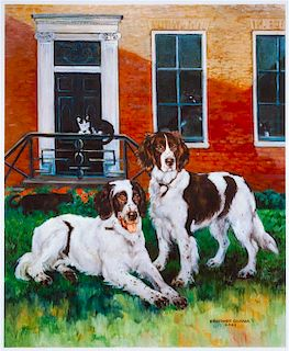 * Two Works of Art depicting Brittany Spaniels Larger: 20 x 16 1/2 inches.