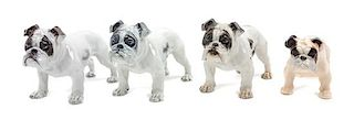 * A Group of Four Porcelain Bulldogs Width of widest 7 1/2 inches.