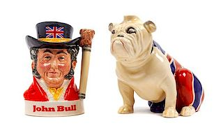 * Two Royal Doulton Bulldog Figures Height of taller 5 3/4 inches.