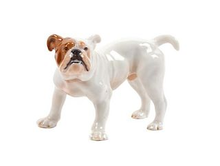 * A Meissen Porcelain Bulldog Width 4 inches.