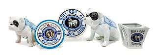 * A Group of Five Porcelain Bulldog Articles Height of tallest 7 1/4 inches.