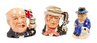 * A Group of Three Bulldog Mugs Height of tallest 7 inches.