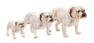 * A Group of Three Royal Doulton Bulldogs Width of widest 9 inches.