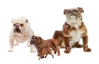 * A Group of Three Bulldog Figurines Height of tallest 4 inches.