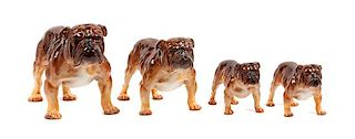* A Group of Four Royal Doulton Bulldogs Width of widest 9 inches.