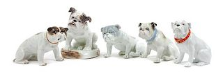 * A Group of Five Porcelain Bulldogs Height of tallest 7 1/2 inches.