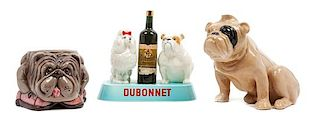 * A Group of Three Porcelain Bulldog Articles Height of tallest 7 inches.