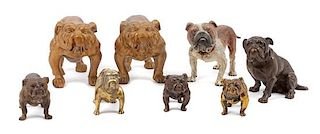 * A Group of Eight Bronze and Metal Bulldogs Width of widest 8 inches.