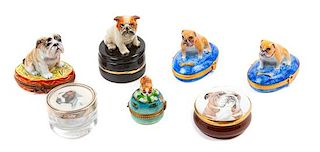 * A Group of Seven Bulldog Trinket Boxes Height of tallest 3 1/4 inches.