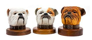 * Three Boehm Bulldog Heads Height of tallest overall 7 3/4 inches.