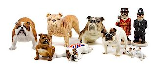 * A Group of Ten Bulldog Figures Width of widest 8 1/2 inches.