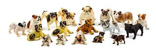 * A Group of Eighteen Porcelain and Ceramic Bulldogs Width of widest 7 inches.