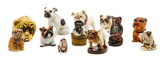 * A Group of Twelve Bulldog Figures Width of widest 7 inches.