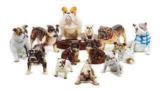 * A Group of Twelve Porcelain Bulldogs Width of widest 7 inches.