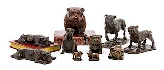 * A Group of Ten Bulldog Figures Width of widest 7 1/4 inches.