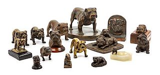 * A Group of Sixteen Bulldog Figures Width of widest 9 3/4 inches.