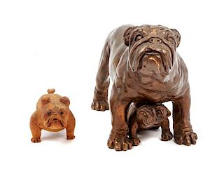 * Two English Bulldog Figures Height of taller 5 1/2 inches.
