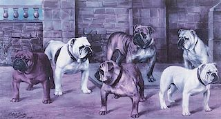 * Two Prints depicting Bulldogs Largest: 17 1/4 x 30 3/4 inches.
