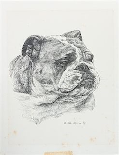* Three Works of Art depicting English Bulldogs Largest: 11 x 8 1/2 inches.