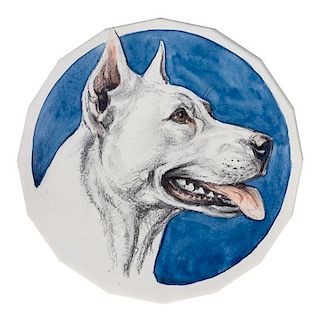 * Three Works of Art depicting White Bull Terriers, Paul Branson (American, 1885-1979), comprising three mixed media works.