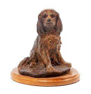 * A Bronze Cavalier King Charles Spaniel Sculpture Height 9 inches.