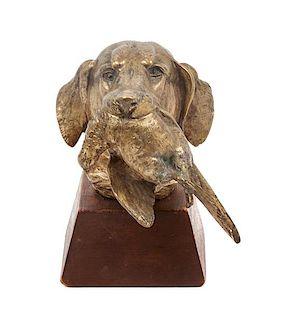 * An English Bronze Chesapeake Bay Retriever Head Study Height overall 5 3/4 inches.