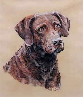 * Six Works of Art depicting Chesapeake Bay Retrievers Largest: 18 x 10 1/2 inches.