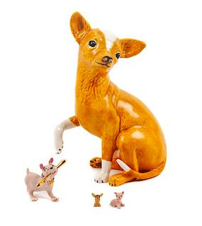 * A Group of Four Chihuahuas Height of tallest 10 1/2 inches.