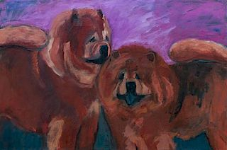* Three Works of Art depicting Chow Chows Largest: 20 x 30 inches.