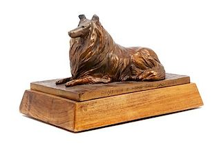 * A Bronze Collie Height 7 x width 11 x depth 7 inches.