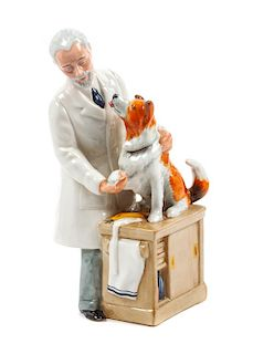 * A Royal Doulton Porcelain Collie Figural Group Height 9 1/8 inches.
