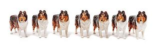 * A Group of Seven Royal Doulton Porcelain Collies Width 5 inches.