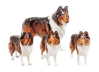 * A Group of Four Royal Doulton Porcelain Collies Width of widest 10 1/2 inches.