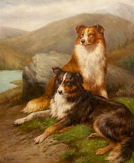 * Four Works of Art depicting Collies Largest: 24 1/4 x 19 7/8 inches.