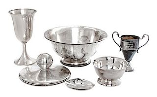 * Three American Silver Dachshund Trophies, Preisner Silver Co., Wallingford, CT, together with a weighted silver cup and two ot