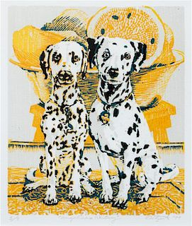 * Two Works of Art depicting Dalmatians Larger: 9 x 7 3/4 inches.