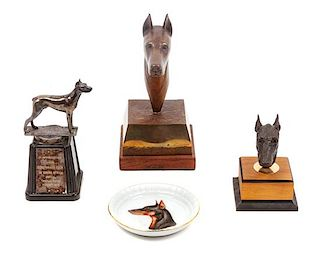 * A Group of Four Doberman Articles Height of tallest 8 1/4 inches.