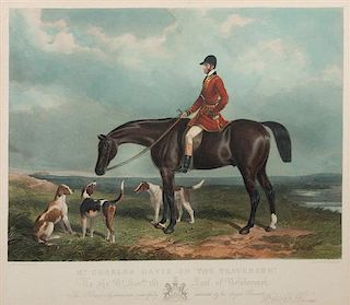 * A Hand-Colored Engraving depicting English Foxhounds 17 1/2 x 20 inches.