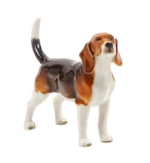* A Porcelain English Foxhound Figure Width 5 1/2 inches.