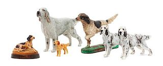 * A Group of Six English Setter Figures Width of widest 9 inches.