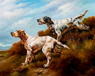* Three Works of Art depicting English Setters Largest: 23 1/2 x 29 1/4 inches.